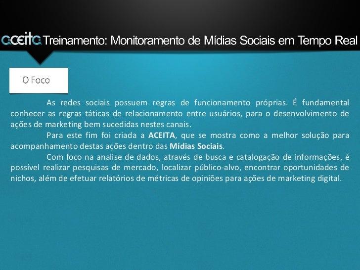Tutorial: Treinamento para Utilização da Ferramenta ACEITA Slide 3