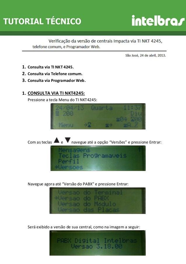 1. Consulta via TI NKT 4245.  2. Consulta via Telefone comum.  3. Consulta via Programador Web.  1. CONSULTA VIA TI NKT424...