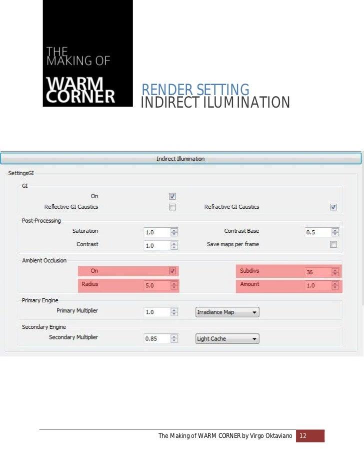 RENDER SETTINGINDIRECT ILUMINATION  The Making of WARM CORNER by Virgo Oktaviano   12