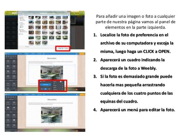 Para añadir una imagen o foto a cualquier parte de nuestra página vamos al panel de elementos en la parte izquierda. 1. Lo...