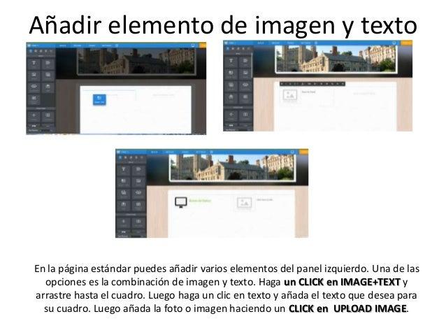En la página estándar puedes añadir varios elementos del panel izquierdo. Una de las opciones es la combinación de imagen ...