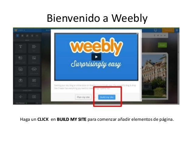 Haga un CLICK en BUILD MY SITE para comenzar añadir elementos de página. Bienvenido a Weebly