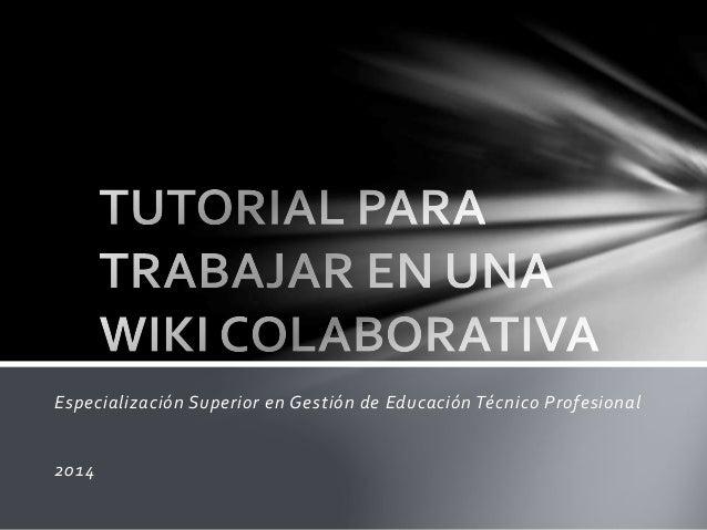 Especialización Superior en Gestión de Educación Técnico Profesional  2014