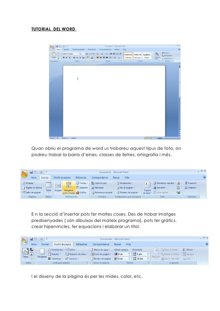 TUTORIAL DEL WORDQuan obriu el programa de word us trobareu aquest tipus de foto, onpodreu trobar la barra d'eines, classe...