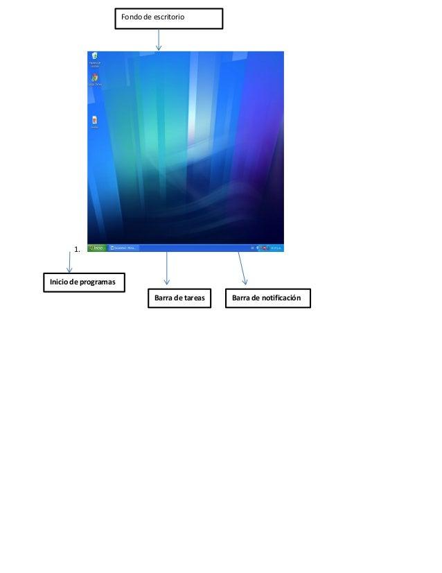 1. Fondo de escritorio Inicio de programas Barra de tareas Barra de notificación