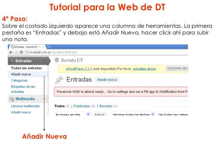 """Tutorial para la Web de DT4º Paso:Sobre el costado izquierdo aparece una columna de herramientas. La primerapestaña es """"En..."""