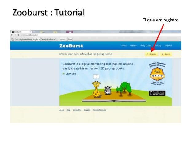Zooburst : Tutorial  Clique em registro