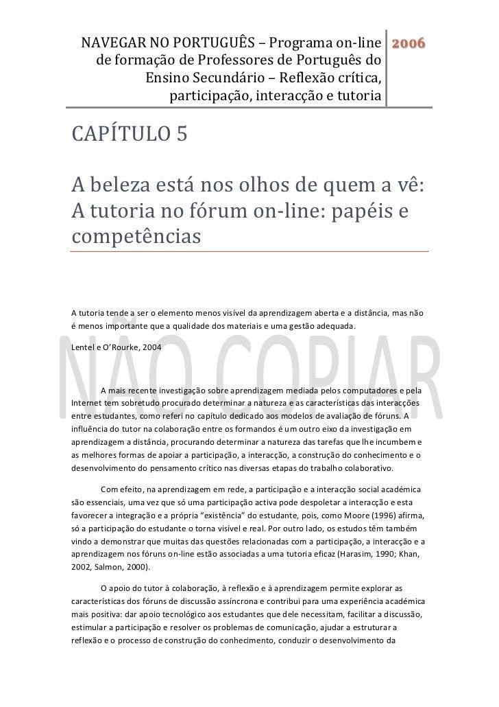 NAVEGAR NO PORTUGUÊS – Programa on-line 2006   de formação de Professores de Português do          Ensino Secundário – Ref...