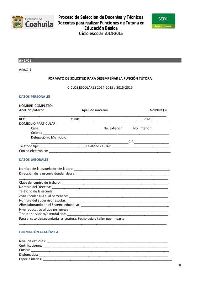 Convocatoria para tutores for Convocatoria docentes exterior