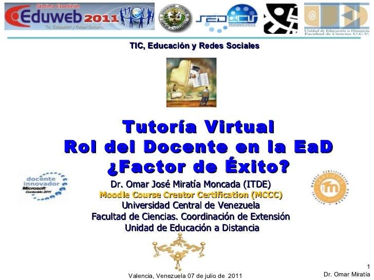 Tutoría Virtual Rol del Docente en la EaD ¿Factor de Éxito? Valencia, Venezuela 07 de julio de  2011 Dr. Omar José Miratía...