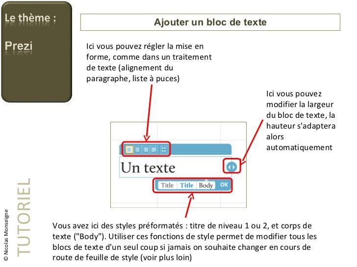 Ajouter un bloc de texte TUTORIEL © Nicolas Monseigne Ici vous pouvez régler la mise en forme, comme dans un traitement de...