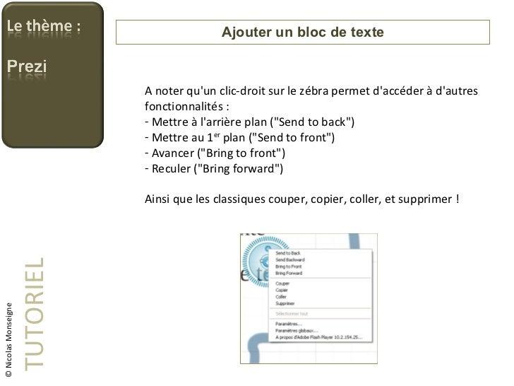 Ajouter un bloc de texte TUTORIEL © Nicolas Monseigne <ul><li>A noter qu'un clic-droit sur le zébra permet d'accéder à d'a...