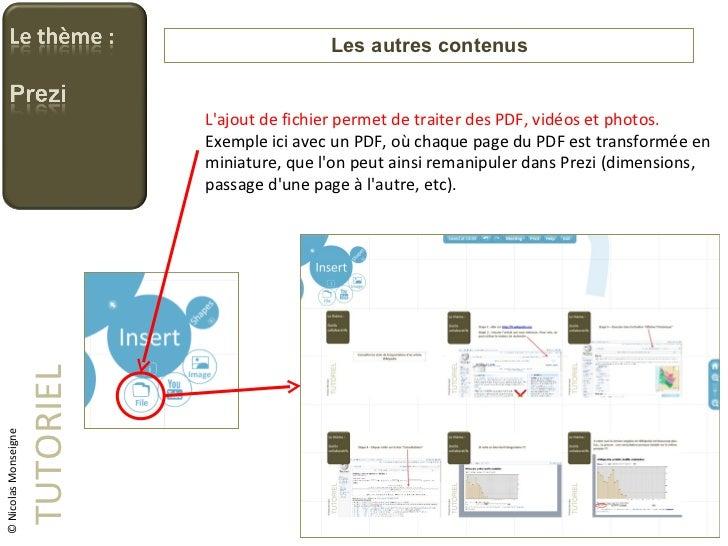 Les autres contenus TUTORIEL © Nicolas Monseigne L'ajout de fichier permet de traiter des PDF, vidéos et photos. Exemple i...
