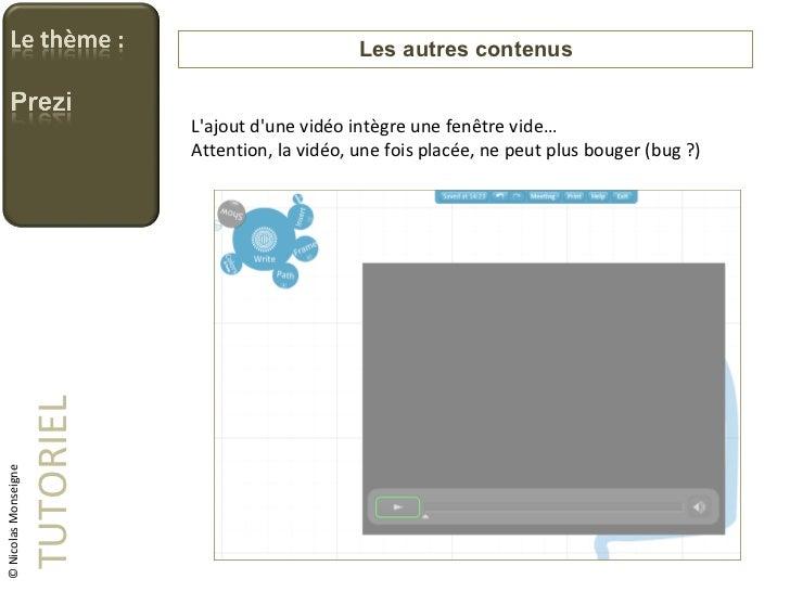 Les autres contenus TUTORIEL © Nicolas Monseigne L'ajout d'une vidéo intègre une fenêtre vide… Attention, la vidéo, une fo...
