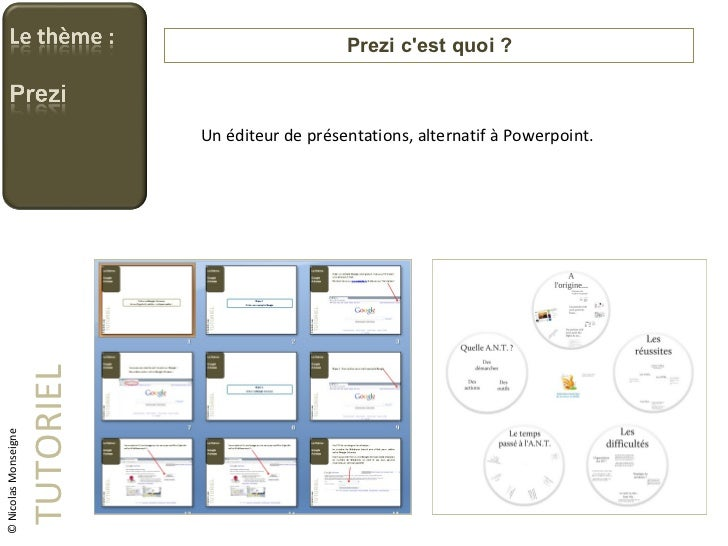 Prezi c'est quoi ? TUTORIEL Un éditeur de présentations, alternatif à Powerpoint. © Nicolas Monseigne
