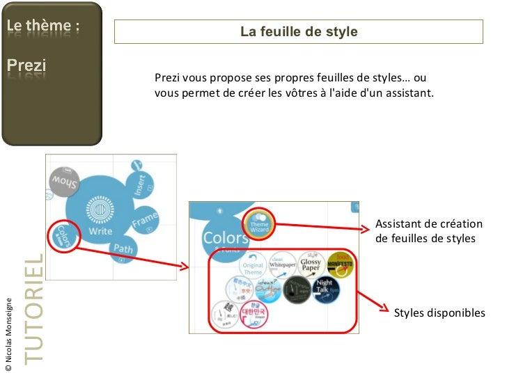 La feuille de style TUTORIEL © Nicolas Monseigne Prezi vous propose ses propres feuilles de styles… ou vous permet de crée...