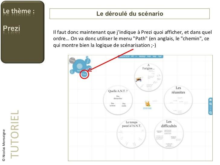 Le déroulé du scénario TUTORIEL © Nicolas Monseigne Il faut donc maintenant que j'indique à Prezi quoi afficher, et dans q...