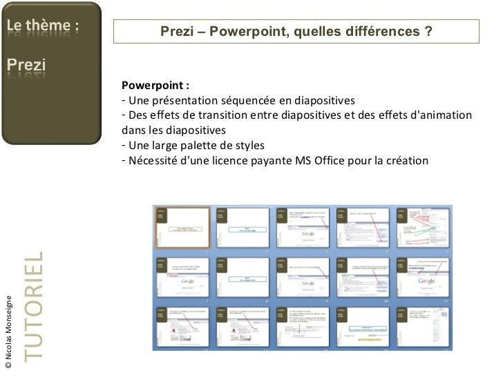 Prezi – Powerpoint, quelles différences ? TUTORIEL <ul><li>Powerpoint : </li></ul><ul><li>Une présentation séquencée en di...