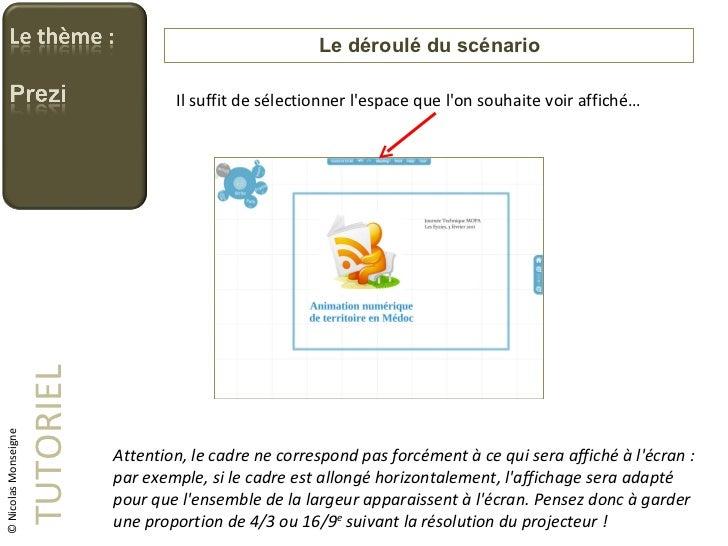 Le déroulé du scénario TUTORIEL © Nicolas Monseigne Il suffit de sélectionner l'espace que l'on souhaite voir affiché… Att...