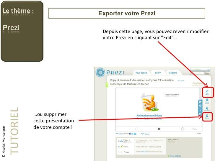Exporter votre Prezi TUTORIEL © Nicolas Monseigne Depuis cette page, vous pouvez revenir modifier votre Prezi en cliquant ...