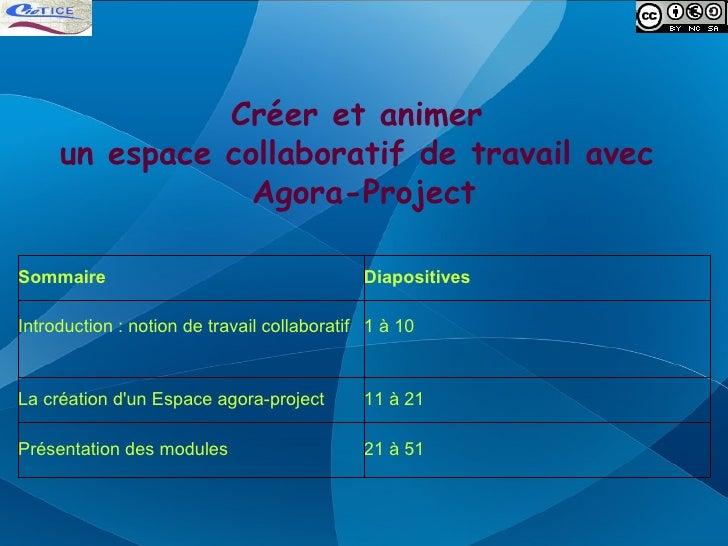 Créer et animer      un espace collaboratif de travail avec                  Agora-Project  Sommaire                      ...