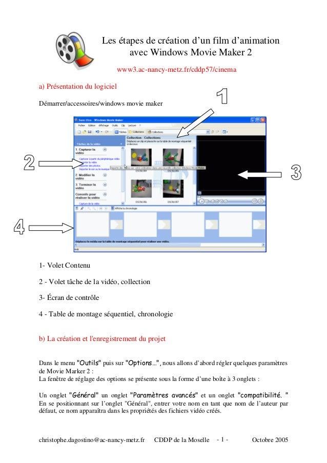 Les étapes de création d'un film d'animation avec Windows Movie Maker 2 www3.ac-nancy-metz.fr/cddp57/cinema a) Présentatio...
