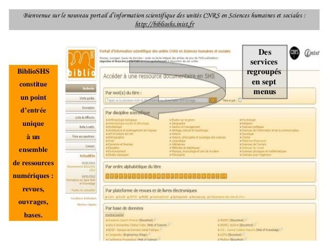 Bienvenue sur le nouveau portail d'information scientifique des unités CNRS en Sciences humaines et sociales : http://bibl...