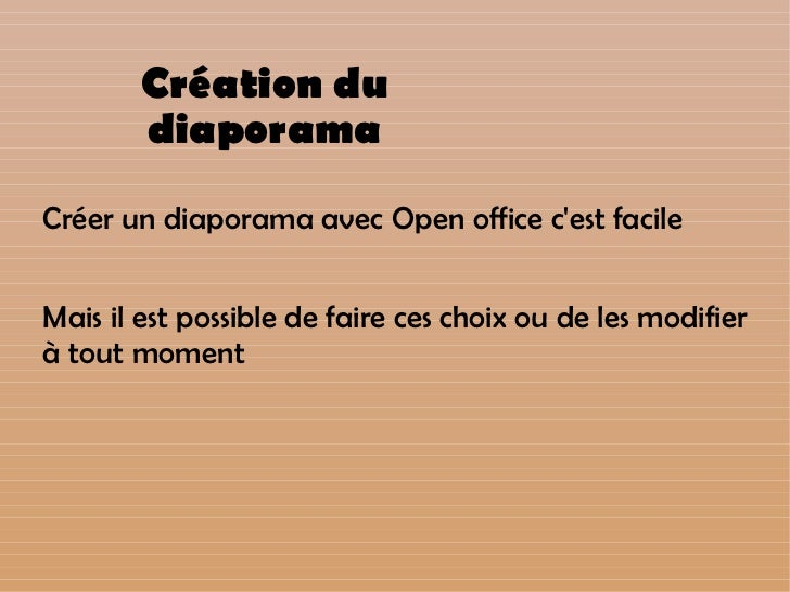 Tutoriel diaporama open office impress - Comment faire un diaporama sur open office ...