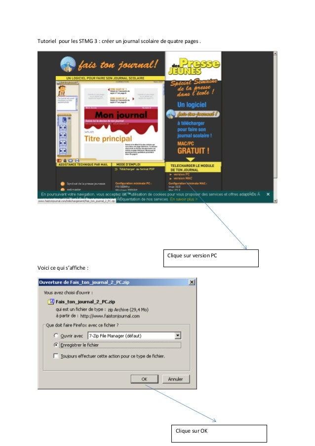 Tutoriel pour les STMG 3 : créer un journal scolaire de quatre pages . Voici ce qui s'affiche : Clique sur version PC Cliq...