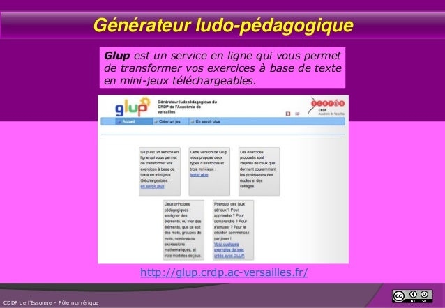 Générateur ludo-pédagogique Glup est un service en ligne qui vous permet de transformer vos exercices à base de texte en m...