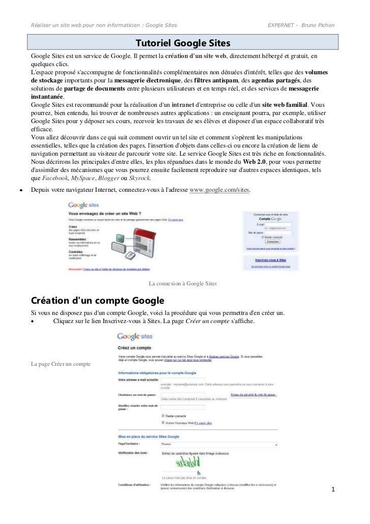 Réaliser un site web pour non informaticien : Google Sites                                   EXPERNET - Bruno Pichon      ...