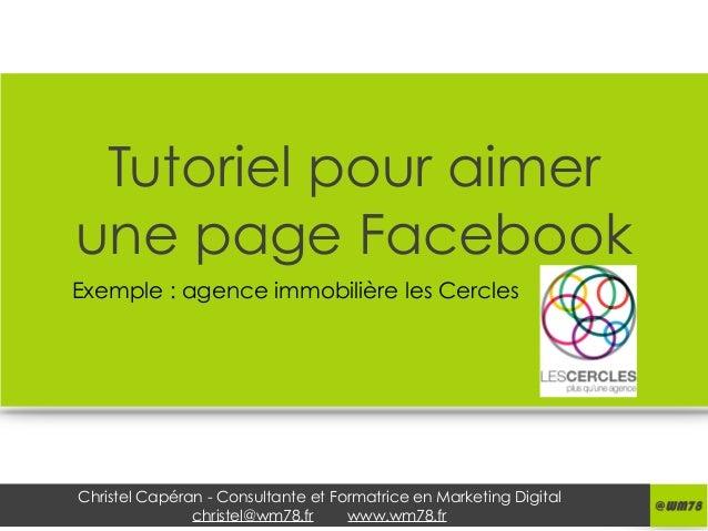 Christel Capéran - Consultante et Formatrice en Marketing Digital christel@wm78.fr www.wm78.fr Tutoriel pour aimer une pag...