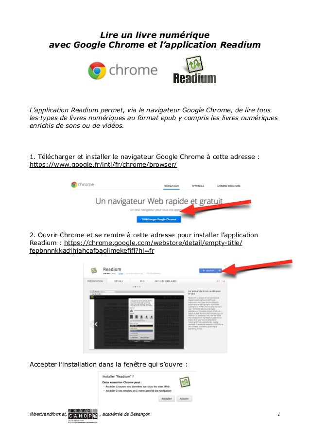 ! ! ! ! ! ! ! !  Lire un livre numérique avec Google Chrome et l'application Readium  L'application Readium permet, via le...