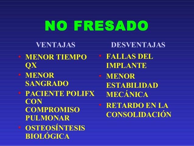 NO FRESADO  VENTAJAS DESVENTAJAS  • MENOR TIEMPO  QX  • MENOR  SANGRADO  • PACIENTE POLIFX  CON  COMPROMISO  PULMONAR  • O...