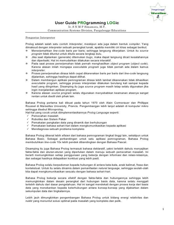 User Guide PROgramming LOGic                               Ir. S N M P Simamora, M.T.                  Communication Syste...