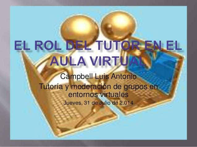 Campbell Luis Antonio Tutoría y moderación de grupos en entornos virtuales Jueves, 31 de Julio de 2.014