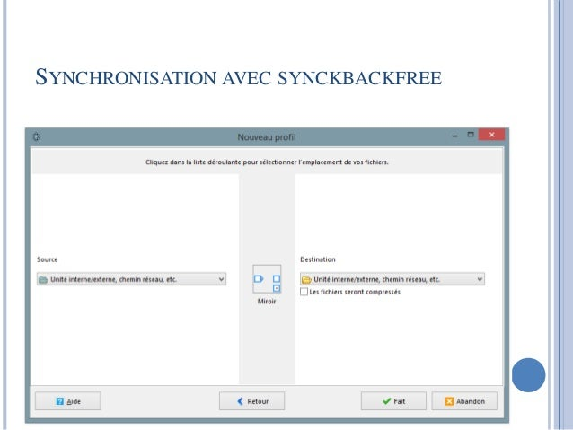 SYNCHRONISATION AVEC SYNCKBACKFREE