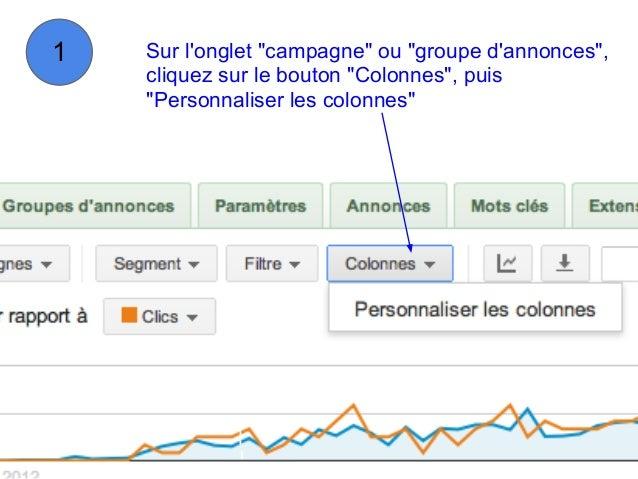 """1   Sur longlet """"campagne"""" ou """"groupe dannonces"""",    cliquez sur le bouton """"Colonnes"""", puis    """"Personnaliser les colonnes"""""""