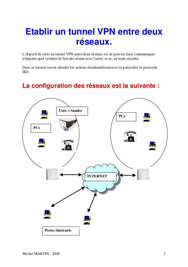 Etablir un tunnel VPN entre deux               réseaux.Lobjectif de créer un tunnel VPN entre deux réseaux est de pouvoir ...