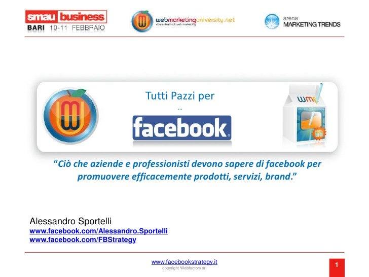 """Tutti Pazzi per …<br />""""Ciò che aziende e professionisti devono sapere di facebook per promuovere efficacemente prodotti, ..."""