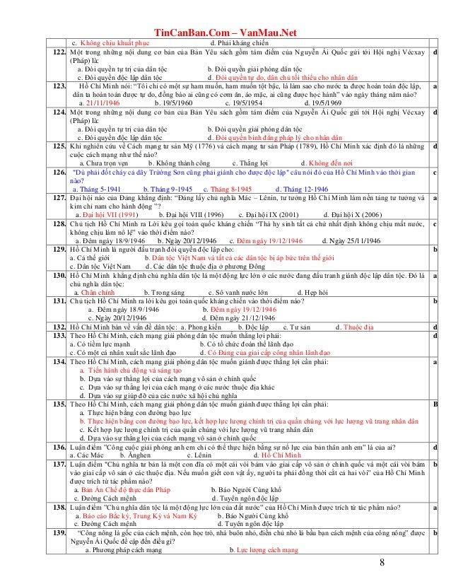 TinCanBan.Com – VanMau.Net 8 c. Không chịu khuất phục d. Phải kháng chiến 122. Một trong những nội dung cơ bản của Bản Yêu...
