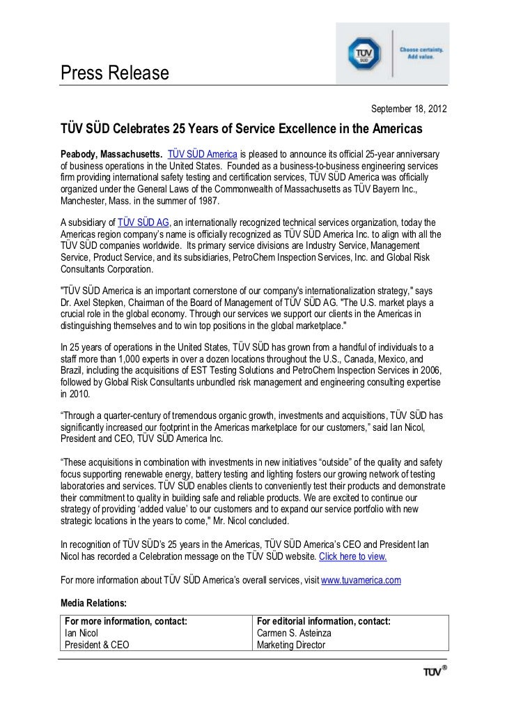 Press Release                                                                                     September 18, 2012TÜV SÜ...