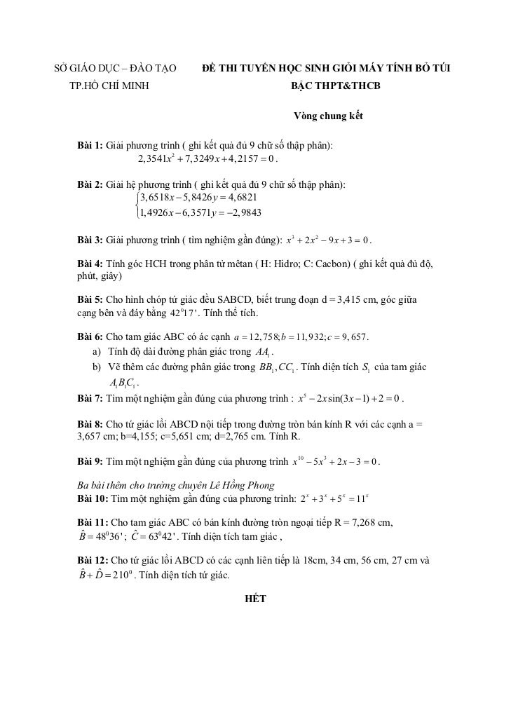 SỞ GIÁO DỤC – ĐÀO TẠO              ĐỀ THI TUYỂN HỌC SINH GIỎI MÁY TÍNH BỎ TÚI  TP.HỒ CHÍ MINH                             ...