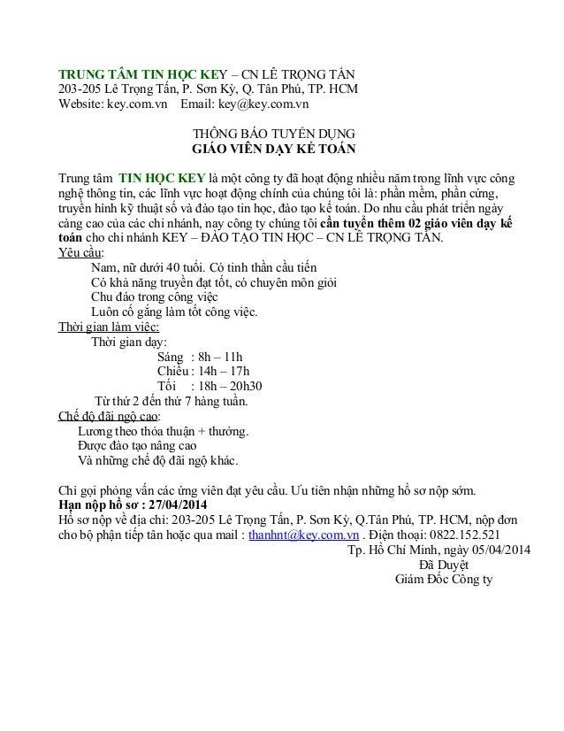 TRUNG TÂM TIN HỌC KEY – CN LÊ TRỌNG TẤN 203-205 Lê Trọng Tấn, P. Sơn Kỳ, Q. Tân Phú, TP. HCM Website: key.com.vn Email: ke...