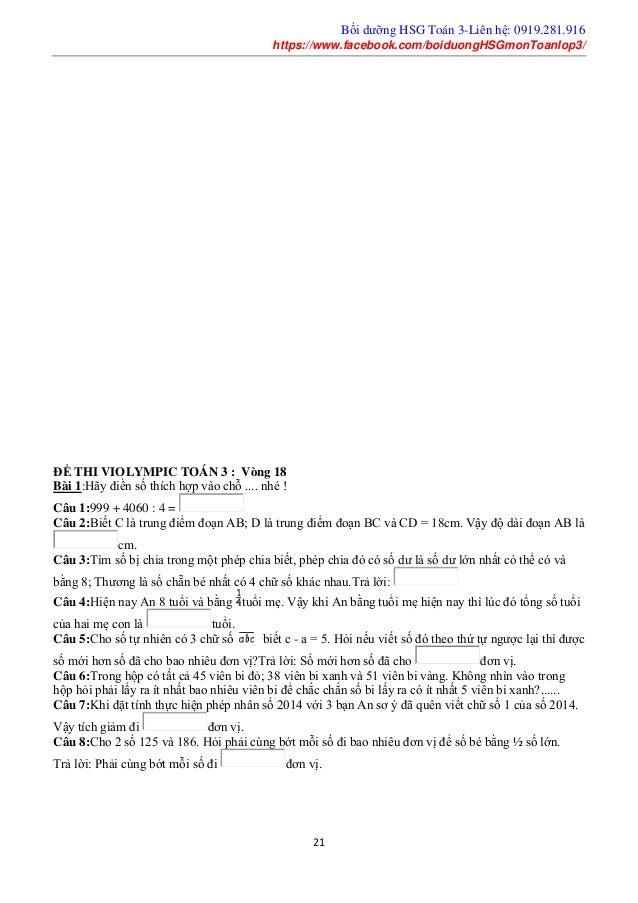 Bồi dưỡng HSG Toán 3-Liên hệ: 0919.281.916 https://www.facebook.com/boiduongHSGmonToanlop3/ 21 ĐỀ THI VIOLYMPIC TOÁN 3 : V...