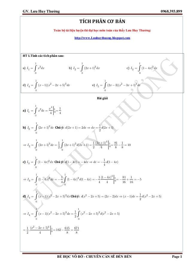 Tuyển tập tích phân luyện thi đại học 2014 [đáp án chi tiết] Slide 2