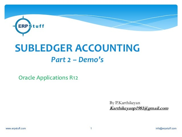 SUBLEDGER ACCOUNTING  Part 2 – Demo's  Oracle Applications R12  By P.Karthikeyan  Karthikeyanp1981@gmail.com  www.erpstuff...