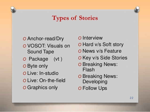 Types of Stories  22  O Anchor-read/Dry  O VOSOT: Visuals on  Sound Tape  O Package (vt )  O Byte only  O Live: In-studio ...