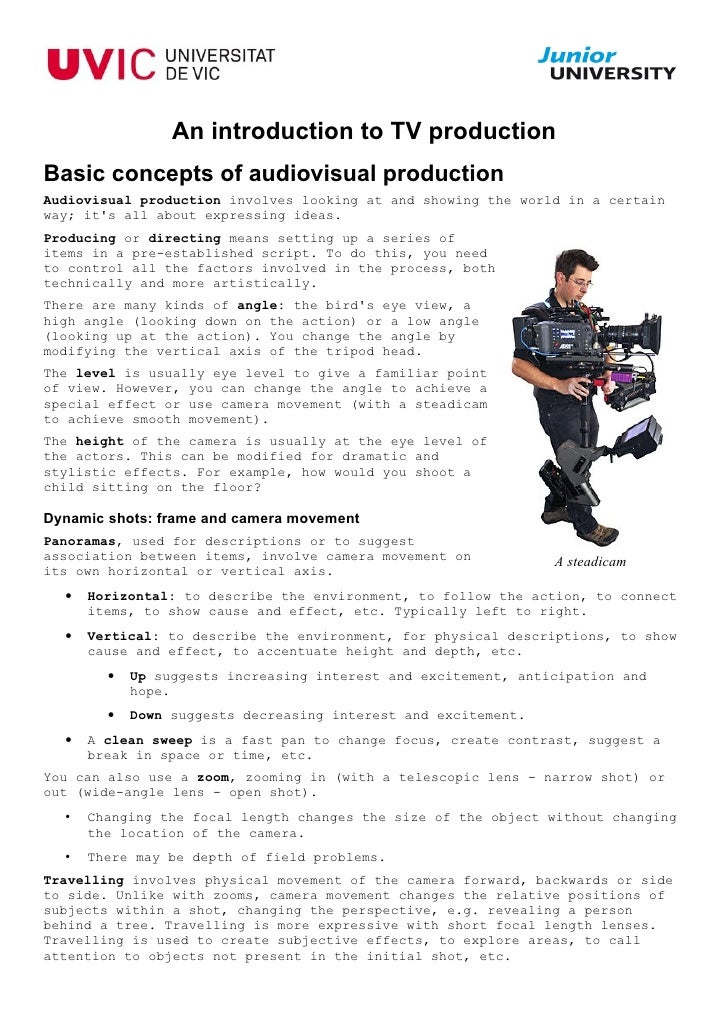 An introduction to TV productionBasic concepts of audiovisual productionAudiovisual production involves looking at and sho...