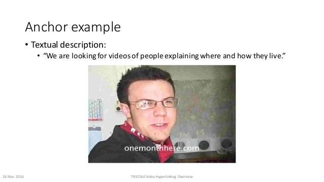 "Anchorexample • Textualdescription: • ""Wearelookingforvideosofpeopleexplainingwhereandhowtheylive."" 16Nov...."